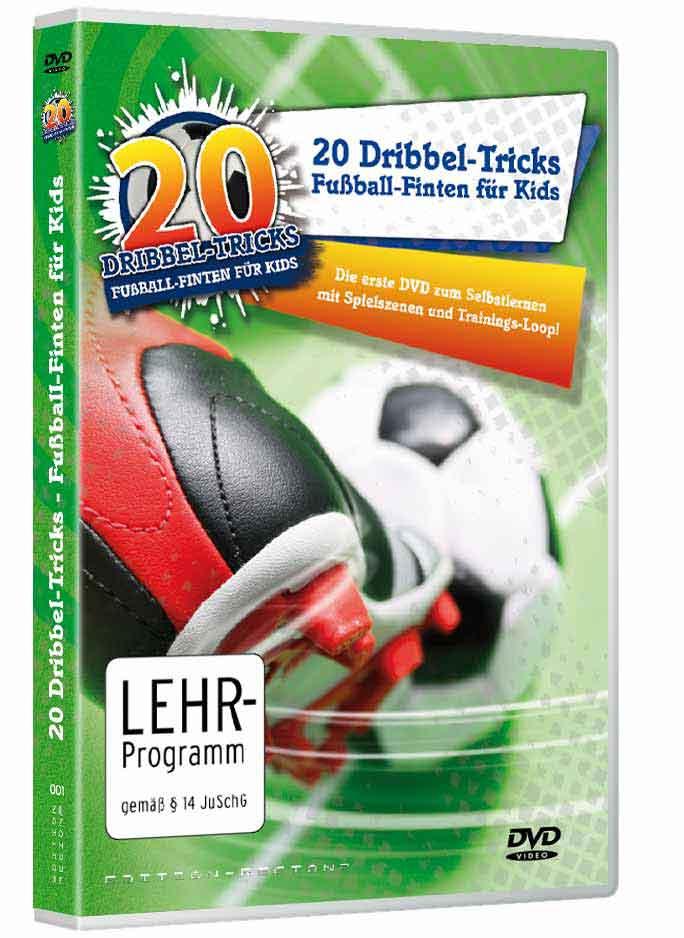 """Verpackung für die Kinder-Fussball-DVD """"20 Dribbel-Tricks für Kids - Fussball-Finten für Kinder"""""""