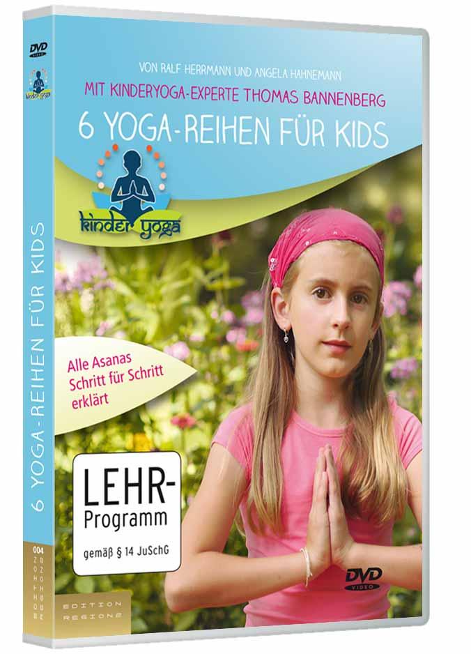Thomas Bannenberg führt Kinder durch 6 Reihen von Yogaübungen. Dazu kommen die zusätzlichen, detaillierten Anleitungen für jedes Asana.