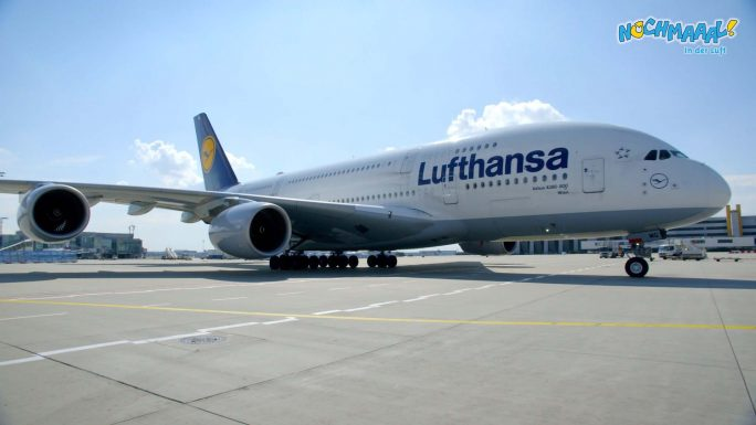 Der Airbus A380 am Flughafen in Frankfurt