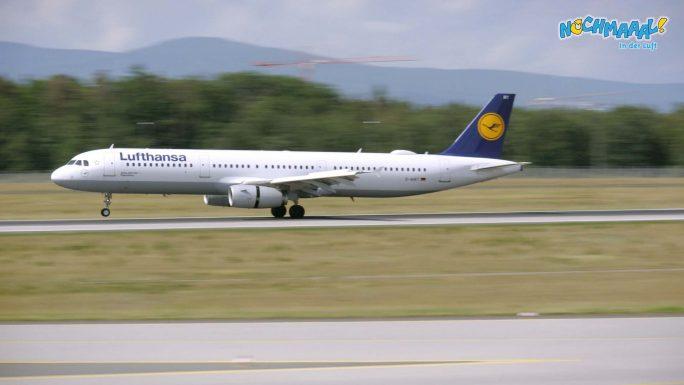 Der Airbus kurz nach dem Aufsetzen in Frankfurt